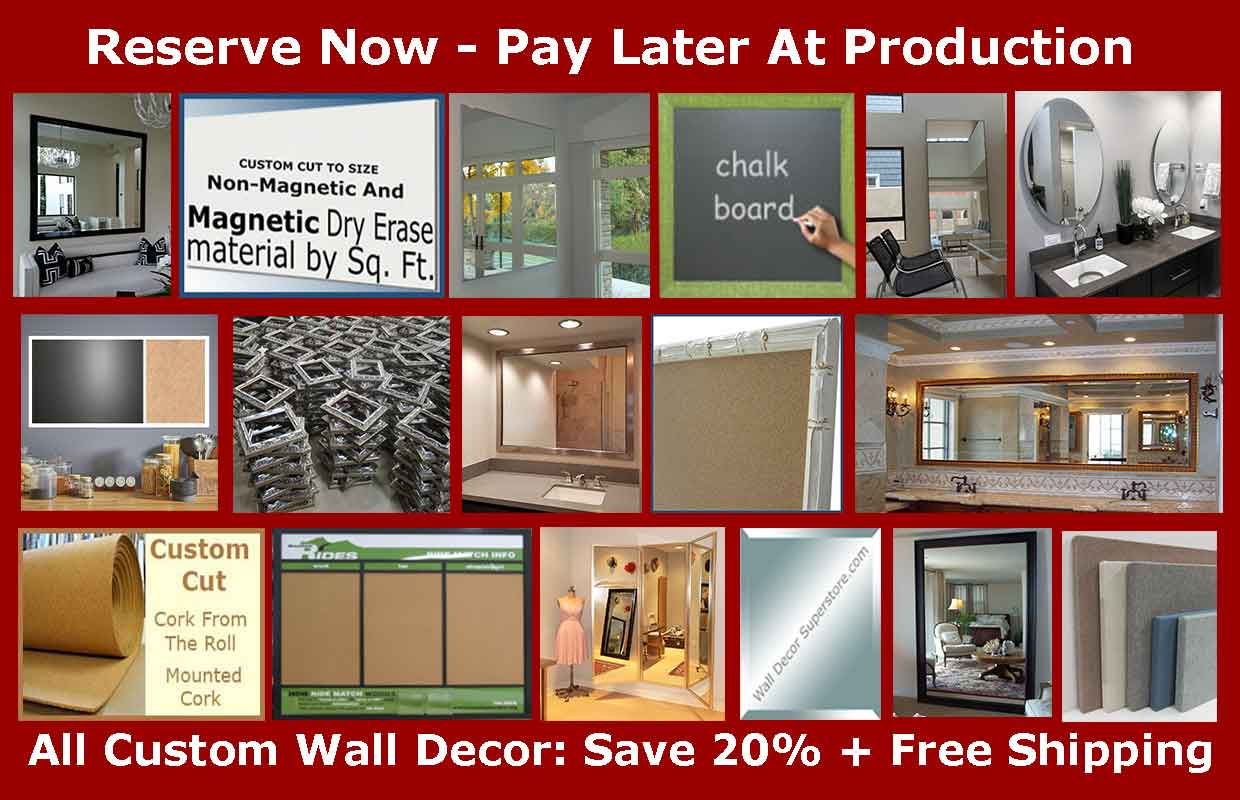 Our production is currently closed - You can reserve custom walldecor now and pay later - choose mirrors framed or frameless,