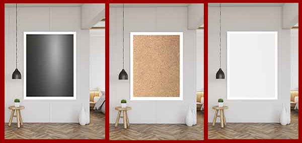 Visit our custom wallboard menu of options - create a corkboard whiteboard or chalkboard combination board - or fabric wrap cork board in your size and color