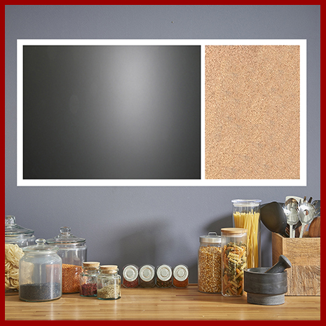 Create a custom combination board with any combination of cork, chalk, dry erase or  fabric wrapped corkboard to your exact size.