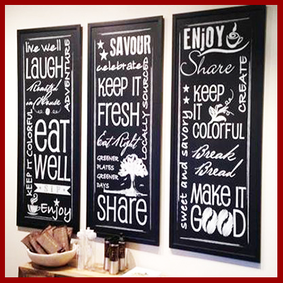 We use your text and graphics to create custom printed chalkboards - up to 4 x 8 feet.