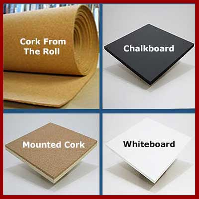 Custom cut chalkboard - whiteboard - cork by the roll - mounted corkboard material to your exact size