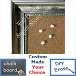 BB116-2 Distressed Silver Leaf With Black Medium To Extra Large Custom Cork Chalk Or Dry Erase Board