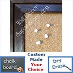 BB154-4 Distressed Dark Walnut Pine With Boarder Custom Cork Chalk or Dry Erase Board Medium To Large