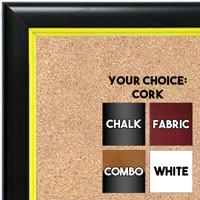 BB1400-4 Black With Yellow Lip Small To Medium Custom Cork Chalk or Dry Erase Board
