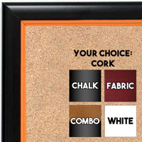 BB1400-5 Black With Orange Lip Small To Medium Custom Cork Chalk or Dry Erase Board