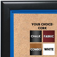 BB1401-1 Black With Blue Lip Custom Cork Chalk or Dry Erase Board Medium To Large