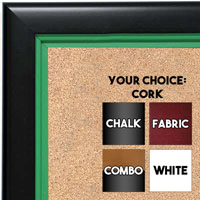 BB1401-2 Black With Green Lip Custom Cork Chalk or Dry Erase Board Medium To Large