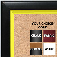 BB1401-4 Black With Yellow Lip Custom Cork Chalk or Dry Erase Board Medium To Large