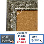BB1411-2 Ornate Distressed Antique Silver Medium To Extra Large Custom Cork Chalk Or Dry Erase Board