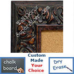 BB1421-3 Ornate Distressed Brown   Medium To Extra Large Custom Cork Chalk Or Dry Erase Board