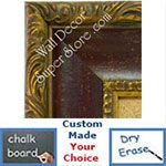 BB1424-1 Ornate Gold With Distressed Red Scoop Medium To Extra Large Custom Cork Chalk Or Dry Erase Board