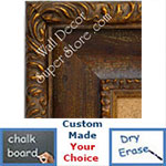 BB1424-2 Ornate Gold With Distressed Brown Scoop Medium To Extra Large Custom Cork Chalk Or Dry Erase Board