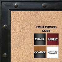BB1502-2 Black Espresso with Rivets Small To Medium Custom Cork Chalk or Dry Erase Board