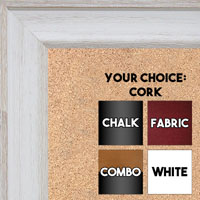 BB1512-1 White Distressed Barnwood - Large Wall Board Cork Chalk Dry Erase
