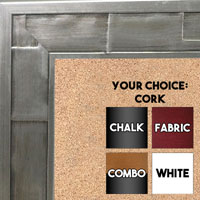 BB1515-1 Oxidized Aluminum Metallic Distressed Industrial Look Extra Large Custom Cork Chalk Or Dry Erase Board