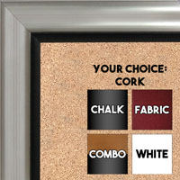 BB1520-1 Silver With Black Trim Large Wall Board Cork Chalk Dry Erase