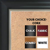 BB1520-2 Black With Silver Trim Large Wall Board Cork Chalk Dry Erase