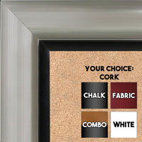 BB1521-1 Silver With Black Trim Extra Large Wall Board Cork Chalk Dry Erase