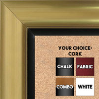 BB1521-3 Gold With Black Trim Extra Large Wall Board Cork Chalk Dry Erase