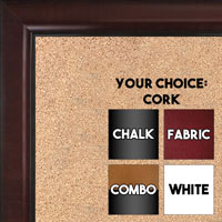BB1523-3  Walnut Custom  Medium  Wall Board Cork Chalk Dry Erase