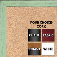 BB1532-12 Distressed Soft Green -  Small Custom Cork Chalk or Dry Erase Board