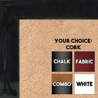 BB1536-6 Glossy Black - Medium Custom Cork Chalk or Dry Erase Board