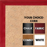 BB1537-1 Glossy Red - Small Custom Cork Chalk or Dry Erase Board