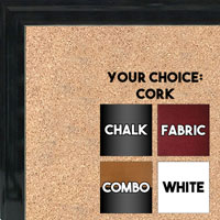 BB1537-6 Glossy Black - Small Custom Cork Chalk or Dry Erase Board