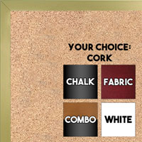 BB1540-17 Thin Metal Frosted Gold Custom Cork Chalk or Dry Erase Board Small To Large