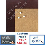 "BB1545-7 Dark Mahogany 1 3/4"" Wide Value Price Medium To Extra Large Custom Cork Chalk Or Dry Erase Board"