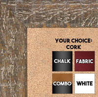 BB1555-5 Distressed Walnut - Extra Large Chalkboard Cork Dry Erase