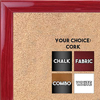 BB1562-5 Gloss Lacquer Red Wood Grain Small Custom Cork Chalk or Dry Erase Board