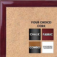 BB1562-8 Gloss Lacquer Rich Burgundy Red Wood Grain Small Custom Cork Chalk or Dry Erase Board