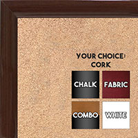 BB1562-9 Gloss Lacquer Walnut Brown Wood Grain Small Custom Cork Chalk or Dry Erase Board