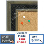 BB1623-1  Silver with Black / Design | Custom Cork Bulletin Board | Custom White Dry Erase Board | Custom Chalk Board