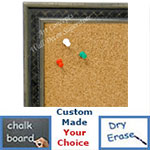 BB1623-2   Silver with Black / Design | Custom Cork Bulletin Board | Custom White Dry Erase Board | Custom Chalk Board