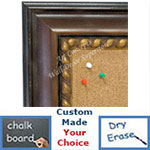 BB1635-2  Distressed Walnut | Custom Cork Bulletin Board | Custom White Dry Erase Board | Custom Chalk Board