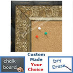 BB1648-1  Distressed Black & Silver | Custom Cork Bulletin Board | Custom White Dry Erase Board | Custom Chalk Board