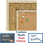 BB1648-3  Distressed White & Gold | Custom Cork Bulletin Board | Custom White Dry Erase Board | Custom Chalk Board