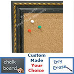 BB1653-1  Distressed Black with Gold | Custom Cork Bulletin Board | Custom White Dry Erase Board | Custom Chalk Board