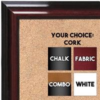 BB1665-1 | Glossy Mahogany | Custom Cork Bulletin Board | Custom White Dry Erase Board | Custom Chalk Board