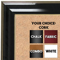 BB1666-1 | Black Lacquer with Gold Trim | Custom Cork Bulletin Board | Custom White Dry Erase Board | Custom Chalk Board