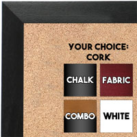 BB1681-1 | Black / Walnut | Custom Cork Bulletin Board | Custom White Dry Erase Board | Custom Chalk Board