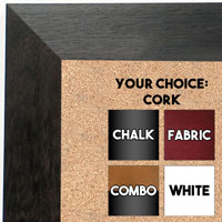 BB1682-1 | Black / Walnut | Custom Cork Bulletin Board | Custom White Dry Erase Board | Custom Chalk Board