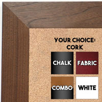 BB1682-2 | Natural Walnut | Custom Cork Bulletin Board | Custom White Dry Erase Board | Custom Chalk Board