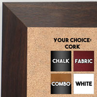 BB1682-3 | Dark Walnut | Custom Cork Bulletin Board | Custom White Dry Erase Board | Custom Chalk Board