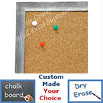 BB1686-2 | Brushed Silver with Black | Custom Cork Bulletin Board | Custom White Dry Erase Board | Custom Chalk Board