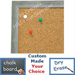 BB1686-5 | Brushed Silver with Green | Custom Cork Bulletin Board | Custom White Dry Erase Board | Custom Chalk Board
