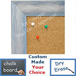 BB1687-4 | Brushed Silver with Blue | Custom Cork Bulletin Board | Custom White Dry Erase Board | Custom Chalk Board