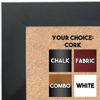 BB1688-1 | Black / Flat Moulding | Custom Cork Bulletin Board | Custom White Dry Erase Board | Custom Chalk Board